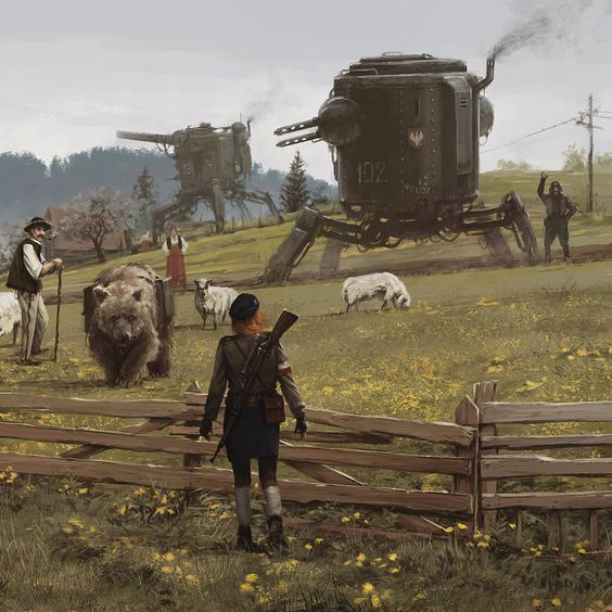 new painting from my 1920+, Anna & Wojtek are back :) Wojtek had tried to have some fun with the sheep, hope you like it guys, cheers!
