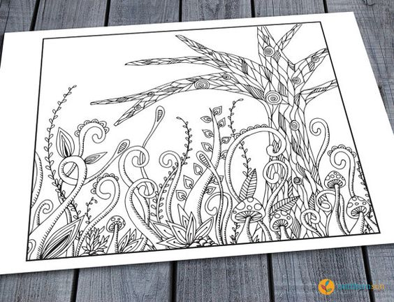 Doodle Adult Colouring Page, Printable Colouring Pages Zen Doodle Art Woodland Tree