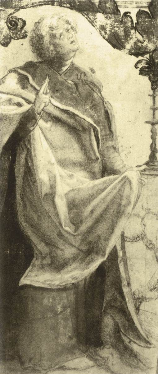 Matthias Grünewald, c.1475-1528, German, Study of an Apostle, c.1511. Black chalk, heightened with white, gray watercolour, 24 x 16 cm. Staatliche Museen, Berlin. Northern Renaissance.