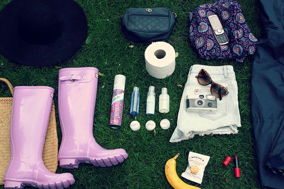 All the festival essentials... including loo roll, of course!
