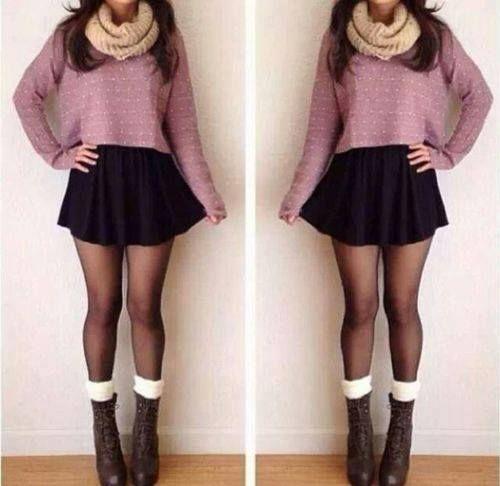#Cute #Skirt #Black #Pink #Winter