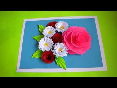 Diy Flower Bouquet Pop Up Card Paper Crafts Handmade Craft Mother S Day Card 3d Wall Hanging Youtube Flower Crafts Paper Crafts Paper Crafts Cards
