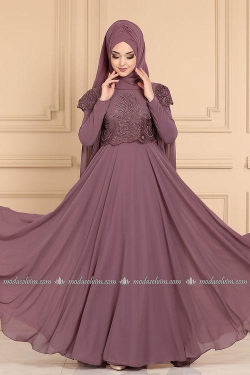 Modaselvim Abiye Kolu Pelerinli Tesettur Abiye 2051pn204 Gul Kurusu The Dress Aksamustu Giysileri Elbiseler