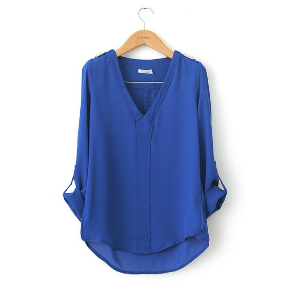 fashion big V-neck long-sleeved rivet epaulette shirt  $16.99