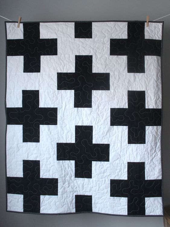 This modern baby quilt is completed and ready to ship to you! I am absolutely delighted with how this quilt turned out. It features a modern plus