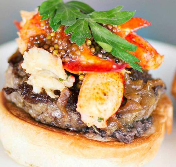 Lob-steer- Hand ground beef, lobster, garlic butter, mushroom ketchup, mustard caviar