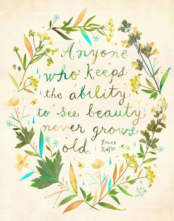 Inspiring quote by Franz Kafka and art by Katie Daisy: ANYONE WHO KEEPS THE ABILITY TO SEE BEAUTY NEVER GROWS OLD. #inspiring #quote #kafka