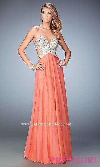 Long Strapless Open Back La Femme Prom Dress at PromGirl.com http ...