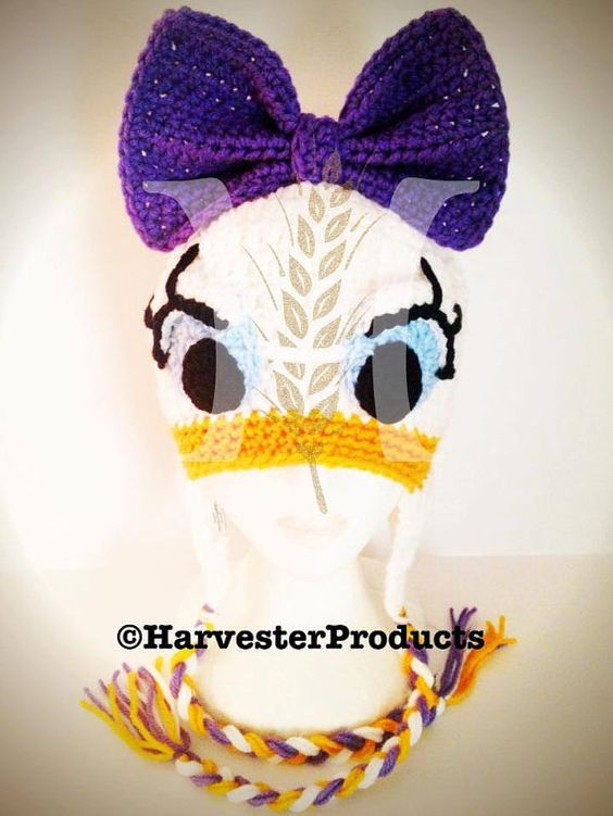 Disney Daisy Duck styled Crochet Hat by HarvesterProducts on Etsy, $40.00