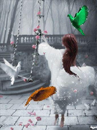 Animação Menina em um vestido elegante fica na gangorra em que dois pombos sentado ao seu lado voando aves de fadas, lazyrit