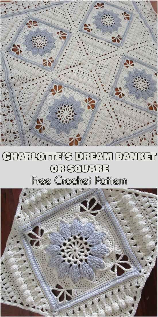 Charlotte Dream Blanket or Square [Free Crochet Pattern] #crochet #lovecrochet #freepattern freecrochetpattern #square