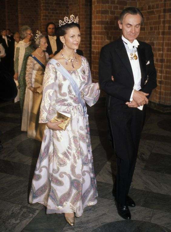 Queen Silvia at the Nobel prize festivities in 1977