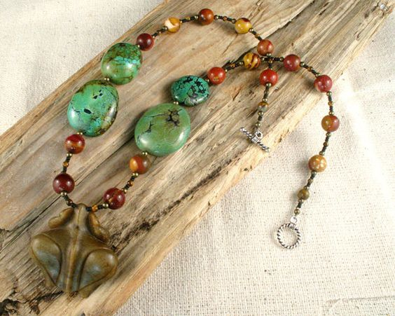 Turquoise Necklace Carved Jade Pendant by ByDivineCollectibles