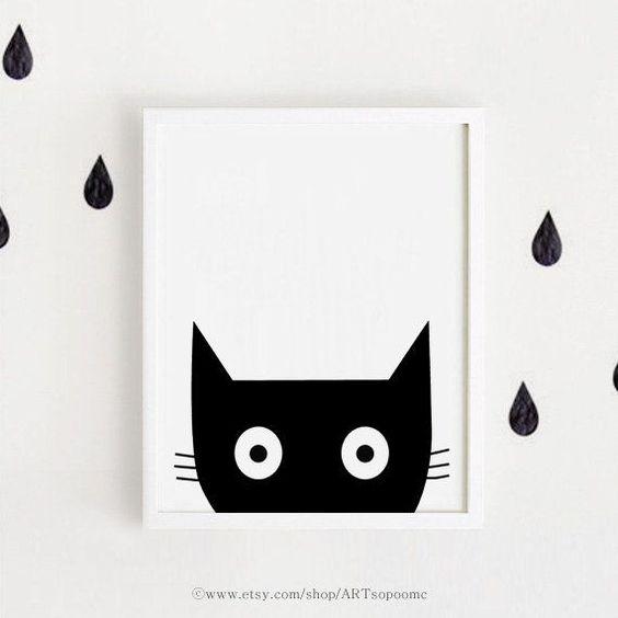 chambre d enfant noir et blanc affiche bebe instant download printable art illustration d. Black Bedroom Furniture Sets. Home Design Ideas