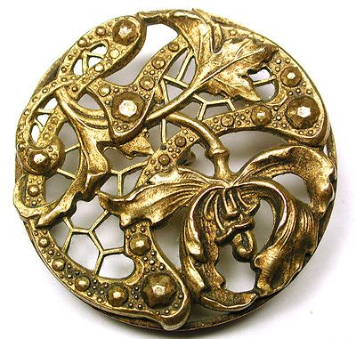 Art Nouveau Pierced Brass Button Fancy Orchid Flower Design