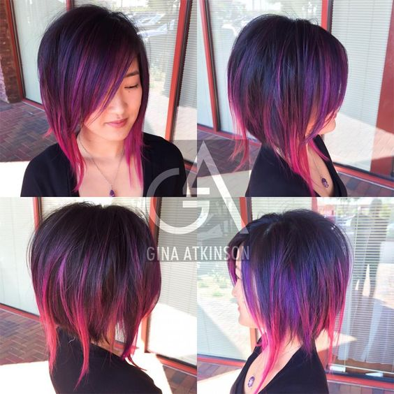 HOW-TO: Purple & Wild Orchid Highlights on a Disconnected A-Line Haircut   Modern Salon