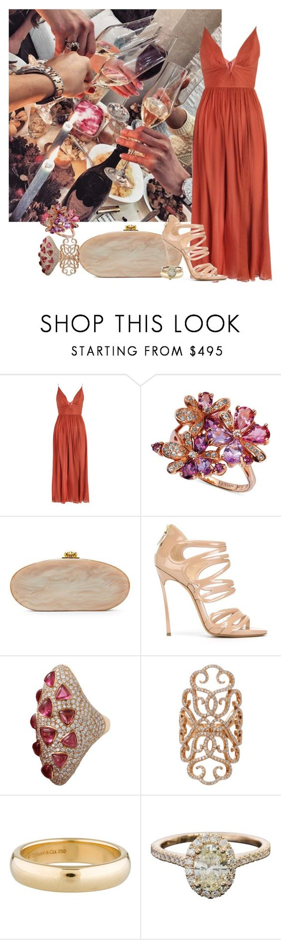 """""""Bez naslova #5904"""" by unorthodox-1 ❤ liked on Polyvore featuring Zimmermann, LE VIAN, Edie Parker, Casadei, Inbar and Tiffany & Co."""