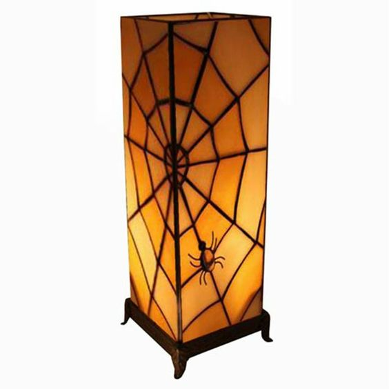 TIFFANY STYLE TABLE LAMP 18.5  SPIDERS WEB DESIGN 7  GLASS SHADE FREE BULB NEW