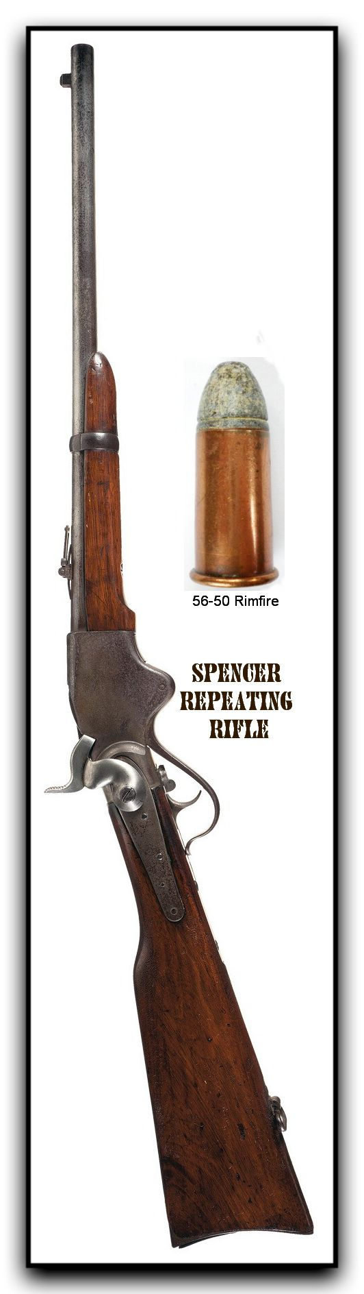 www.pinterest.com/1895gunner/  Spencer repeating rifles were designed in 1860 and saw some civil war action. The smaller carbine as we see in this illustration, was a popular gun in the early west. The original design was completed by Christopher Spencer in 1860, and was for a magazine-fed, lever-operated rifle chambered for the .56-56 Spencer rimfire cartridge. The pictured carbine was shorter and used a 56-50 caliber copper cased rimfire cartridge that was usually headstamped.