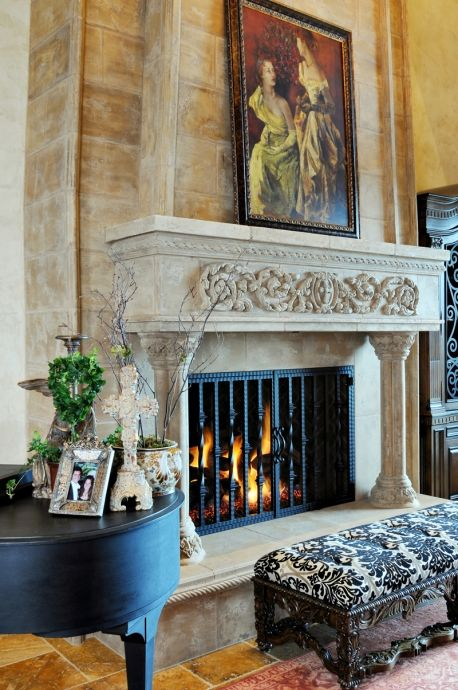 Stone mantel cast stone and fireplaces on pinterest for French country stone fireplace