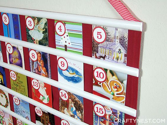Nativity calendar made from recycled Christmas cards.