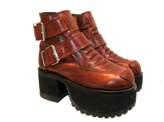 Muro Platform Boots Womens Vintage Brown Leather by Atomicfireball