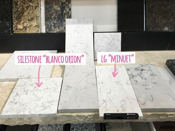 "tips for choosing quartz kitchen countertops / Silestone ""Blanco Orion"" vs. LG ""Minuet"""
