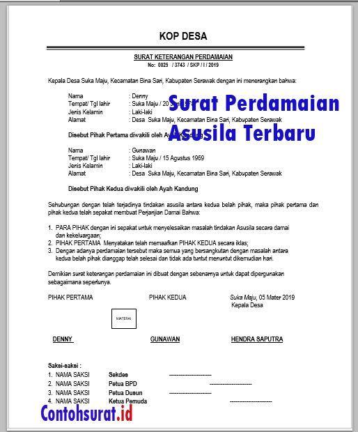 Contoh Surat Perdamaian Asusila Surat Nama Pengikut