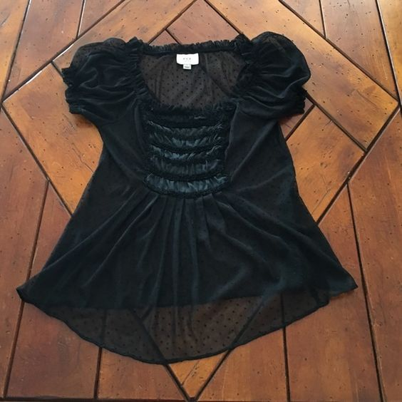 Closet clear out! Sheer Lace Top ECI 8P Sheer Lace Top ECI 8P very pretty lace detail has buttons on the side ECI Tops Blouses