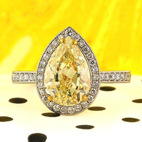 3.58ct Fancy Light Yellow Pear Shaped Diamond by MarkBroumand