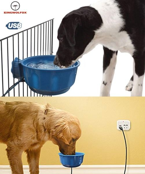 Kingwolfox Heated Water Bowl For Dogs Cats Dog Water Bowls