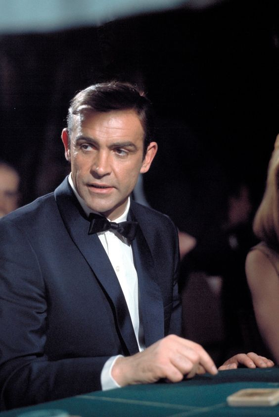 Dr. No (1962): Sean Connery in Black Tie (midnight blue, single breasted, shawl collar) by Anthony Sinclair: