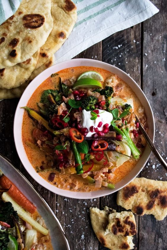 Winter Vegetable Coconut Curry with Garlic Butter Naan