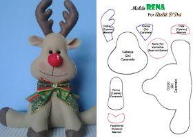 Molde Rena En Fieltro Para Descargar Gratis Figuras Navideñas De Fieltro Fieltro Manualidades Navidad Figuras De Fieltro Navidad