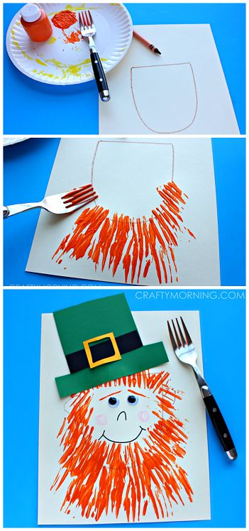 Leprechaun craft with a fork print beard- Fun st. patrick's day craft for kids | CraftyMorning.com: