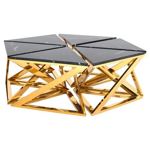 Eichholtz Galaxy Modern Classic Black Marble Gold Octagonal Coffee Table Gold Coffee Table Octagonal Coffee Table Coffee Table Vintage