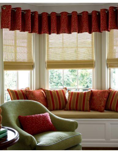 Natural woven flat fold shades with euro fabric valances for Natural woven flat fold shades