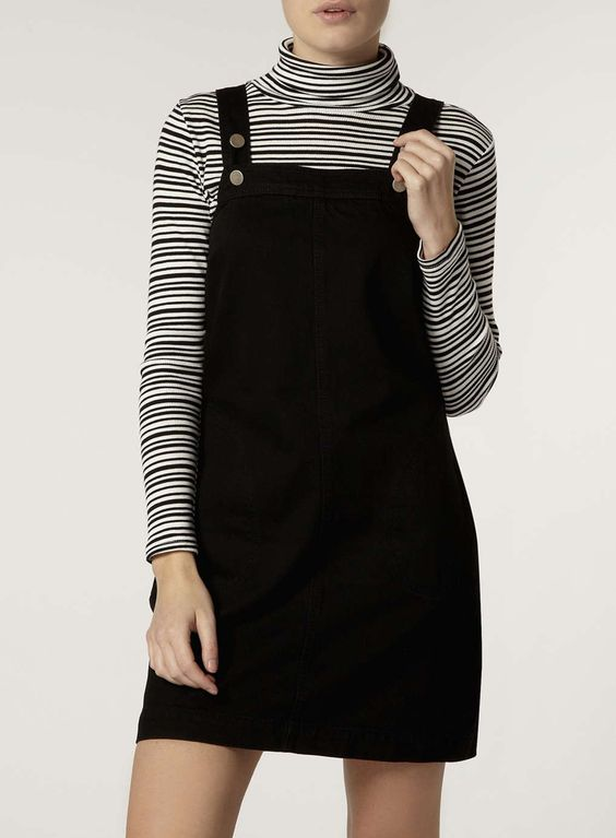 Black Denim Pinafore Dress  Black denim Products and Style