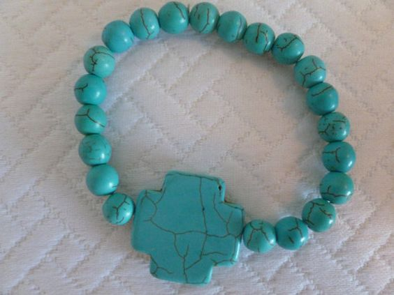 Turquoise Streatch Bracelet With Cross by CaseyRoseCollection, $10.00