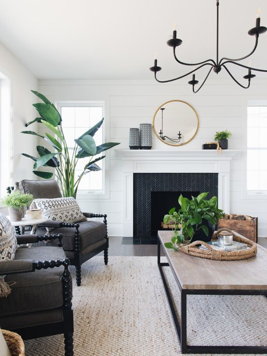 Farmhouse Living Room With Rustic Coffee Table And Fireplace Styling Classic Fa Farm House Living Room Modern Farmhouse Living Room Farmhouse Decor Living Room
