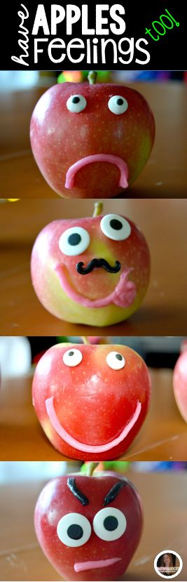 """""""Apples have Feelings too!"""" is a fun way to discuss feelings in a thematic way!  Children will love to fill out the recording sheet describing their apple.  This is one of the fun activities in our """"Apples"""" unit."""