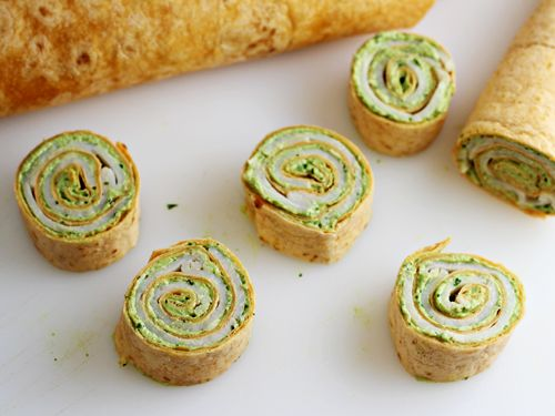 Party Food: Pesto Tortilla Pinwheels Appetizer-- made this for opening day for Fottball! Delicious! U can do some different variations too!