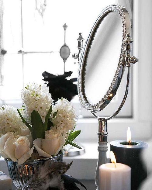 decor mirror interior: Dressing Tables, Bathroom Accessories, Bathroom Mirror, Decorating Candles, Bathroom Decor, Vintage Rose, Bathroom Details, Dressing Room
