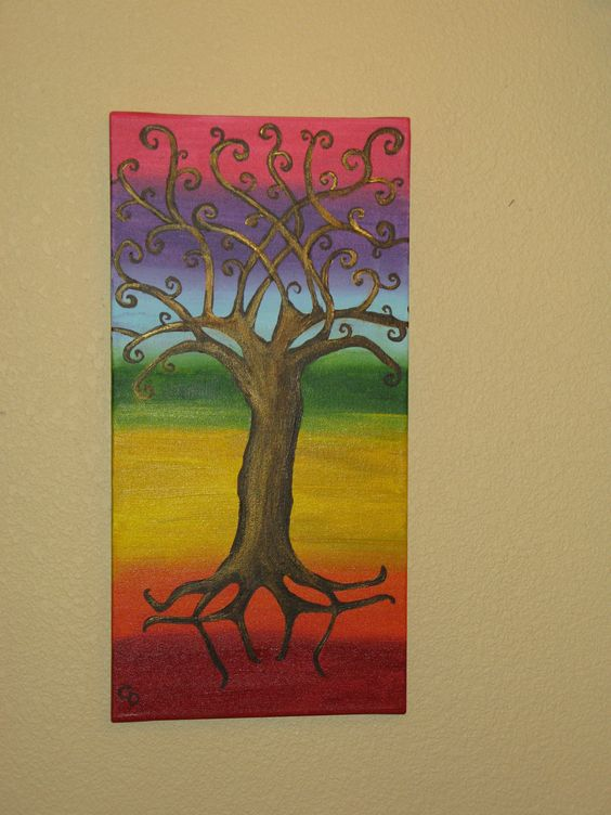 """ Chakra Tree of Life""     My daughter painted me this ""Chakra Tree of Life"" for my birthday. It is one of a kind. I just love it.  2012"
