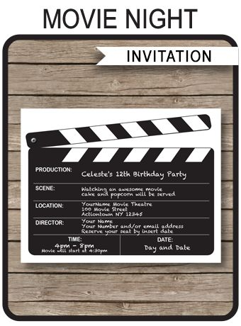 INSTANT DOWNLOADS of Movie Night Party Invitations. Personalize the template easily at home and get your Movie Night or birthday party started right now!