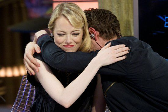 Emma Stone's Most Heart-Melting Moments With Andrew Garfield: Andrew Garfield wrapped his arms around Emma Stone during a July 2012 visit to the Spanish TV show El Hormiguero in Madrid.