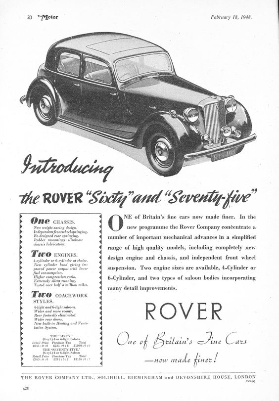 Rover 60 & 75 Motor Car Autocar Advert 1948