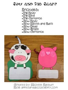 This comes with a template to make a cow and pig craft.  $3.00