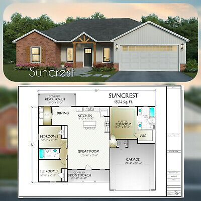 The Suncrest Is A Perfect 1504 Square Foot Plan This Open Concept Plan Includes 3 Bedrooms 2 Baths A Corne In 2020 Building Plans House Building A House House Plans