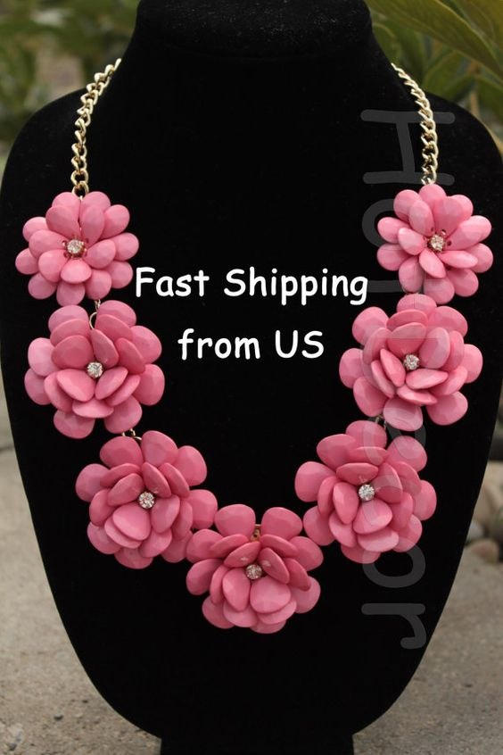 Statement Necklace Bib necklace bubble necklace bridal jewlery for wedding Rose necklace Flower necklace Pink Necklace pink jewelry on Etsy, $22.99